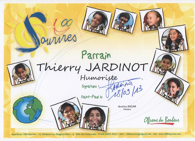<center>Thierry Jardinot, humoriste <br> Parrain de 1000 Sourires