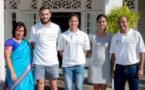 <center>Lucas Tousart , Milieu de l'Olympique Lyonnais et capitaine de l'équipe de France Espoirs <br> et Valérie Gauvin, Attaquante du Montpellier HSC et de l'équipe de France féminine <br>Deux bleus à la Réunion pour le bonheur des marmailles