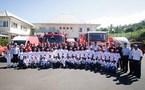 <center>Les enfants de 1000 Sourires<br>  découvrent   le  métier de pompier